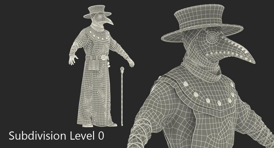 瘟疫医生服装3D模型 royalty-free 3d model - Preview no. 19