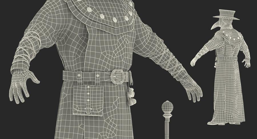 瘟疫医生服装3D模型 royalty-free 3d model - Preview no. 28