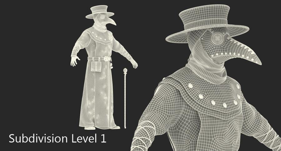 瘟疫医生服装3D模型 royalty-free 3d model - Preview no. 20