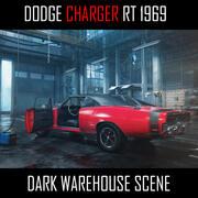 Karanlık Garaj Ortamında 1969 Dodge Charger 3d model
