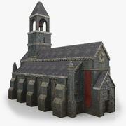 Низкополигональная церковь с интерьером 3d model