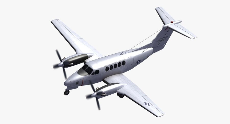 Beechcraft C12休伦 royalty-free 3d model - Preview no. 2