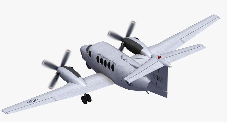Beechcraft C12休伦 royalty-free 3d model - Preview no. 19