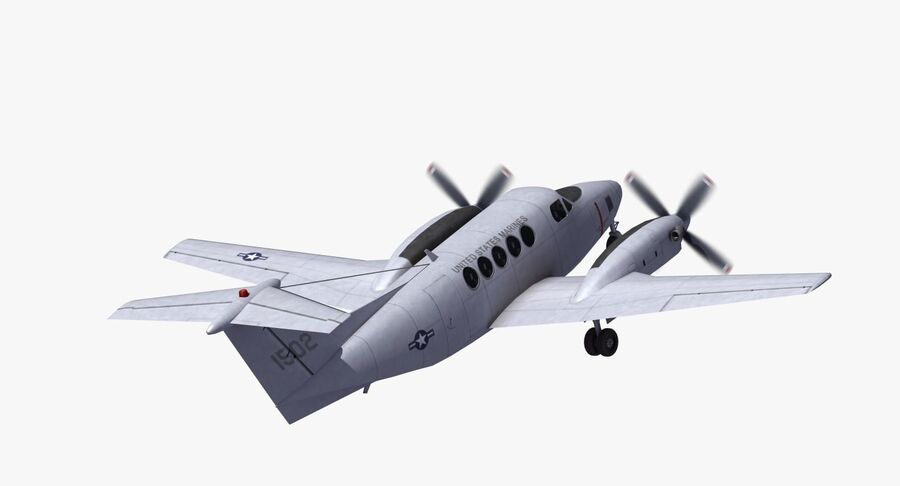 Beechcraft C12休伦 royalty-free 3d model - Preview no. 23