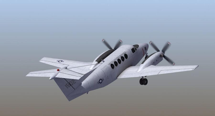 Beechcraft C12休伦 royalty-free 3d model - Preview no. 11