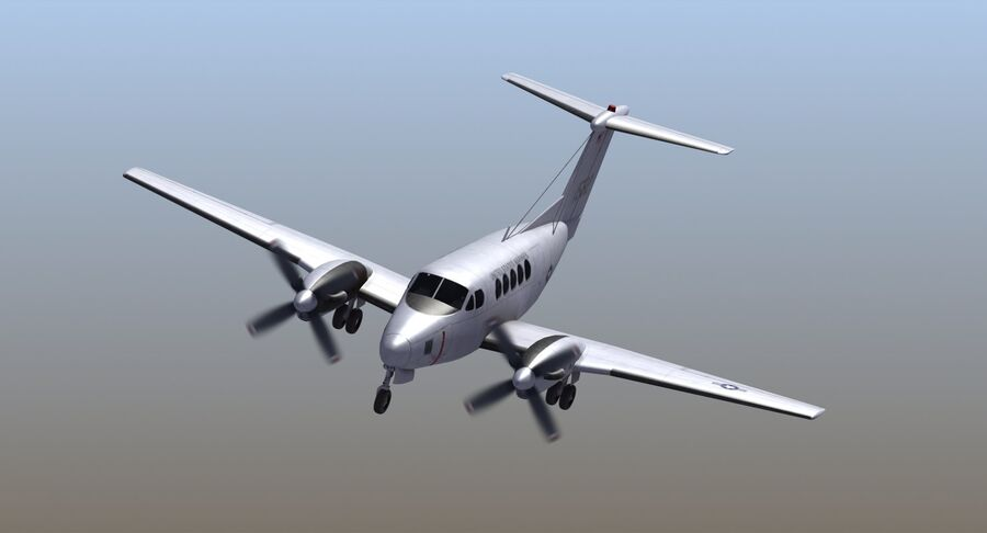 Beechcraft C12休伦 royalty-free 3d model - Preview no. 6