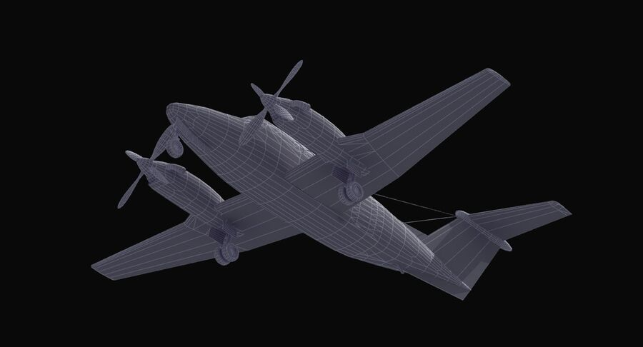 Beechcraft C12休伦 royalty-free 3d model - Preview no. 39
