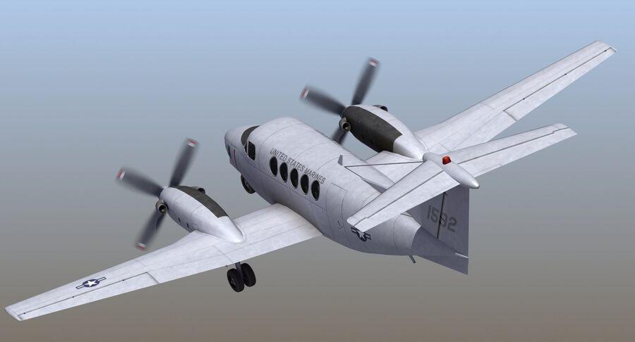 Beechcraft C12休伦 royalty-free 3d model - Preview no. 7