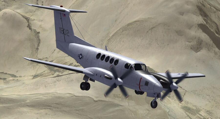 Beechcraft C12休伦 royalty-free 3d model - Preview no. 4