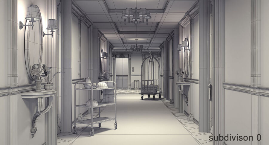 Hotel Corridor royalty-free 3d model - Preview no. 12