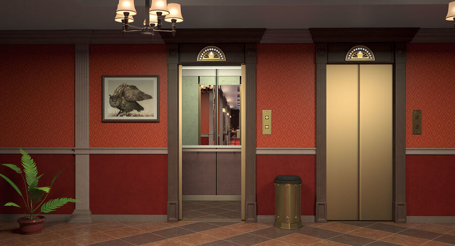 Hotel Corridor royalty-free 3d model - Preview no. 5