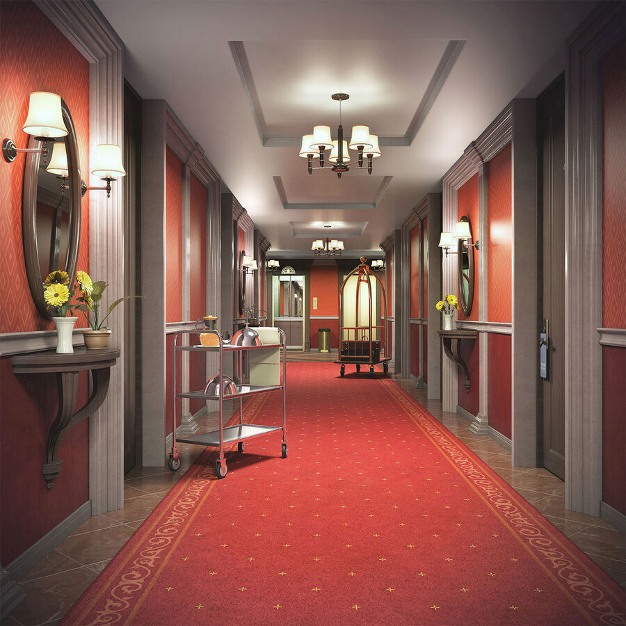 Hotel Corridor royalty-free 3d model - Preview no. 1