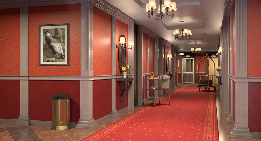 Hotel Corridor royalty-free 3d model - Preview no. 4