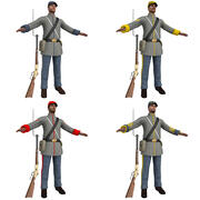 Confederate Soldiers PACK 3d model