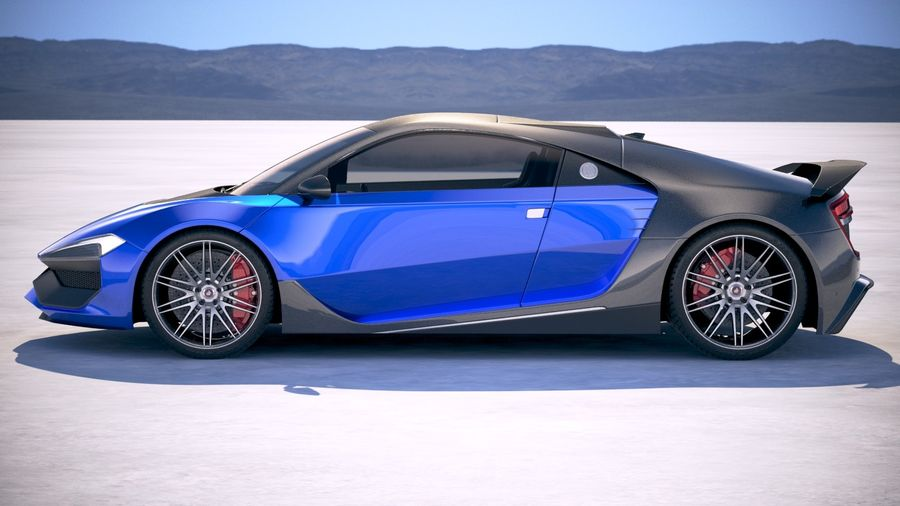 Generic Supercar 2018 royalty-free 3d model - Preview no. 7