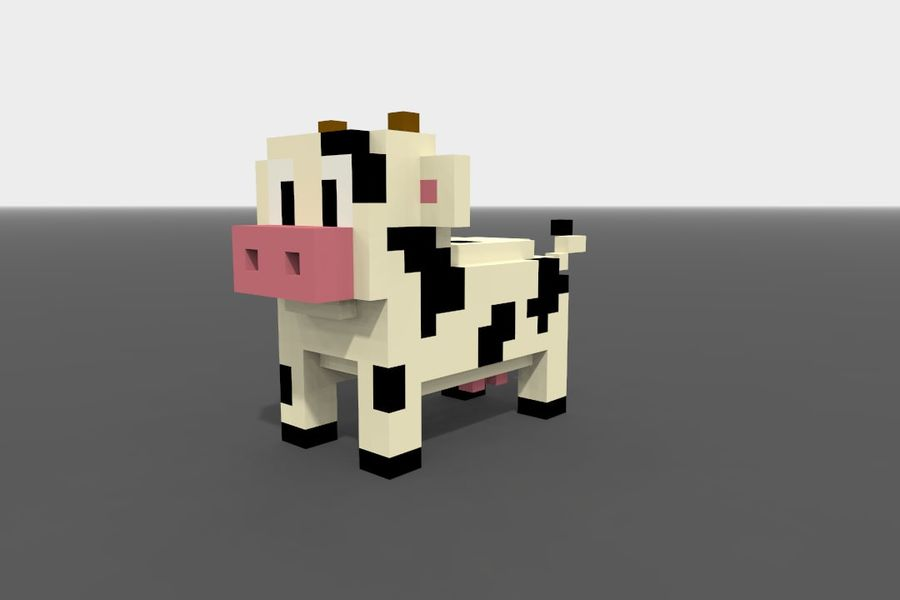 Voxel Cow low-poly royalty-free 3d model - Preview no. 3