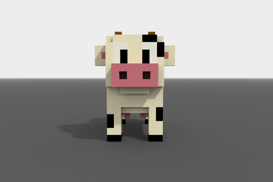Voxel Cow low-poly royalty-free 3d model - Preview no. 2
