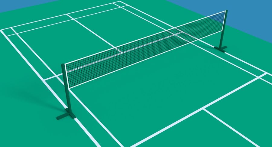 Sąd Badmintona royalty-free 3d model - Preview no. 3
