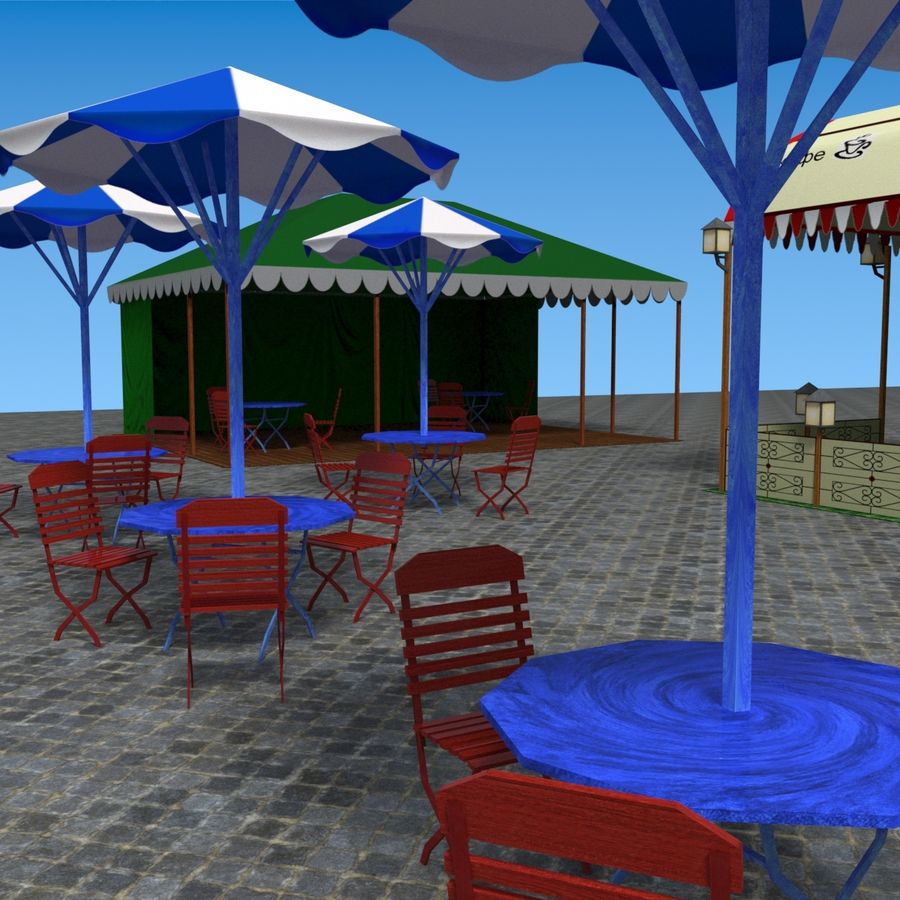 Палатки кафе royalty-free 3d model - Preview no. 15