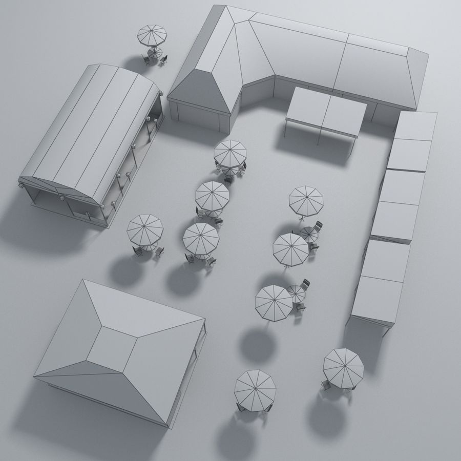 Tents cafe royalty-free 3d model - Preview no. 4