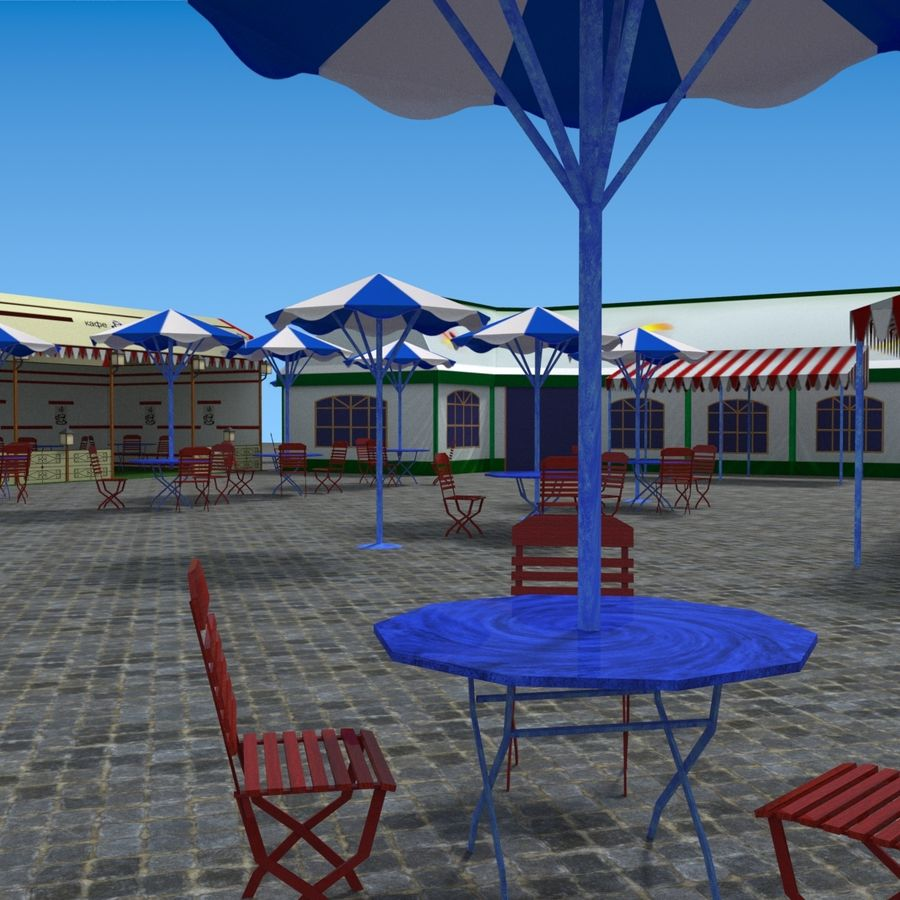 Tents cafe royalty-free 3d model - Preview no. 14