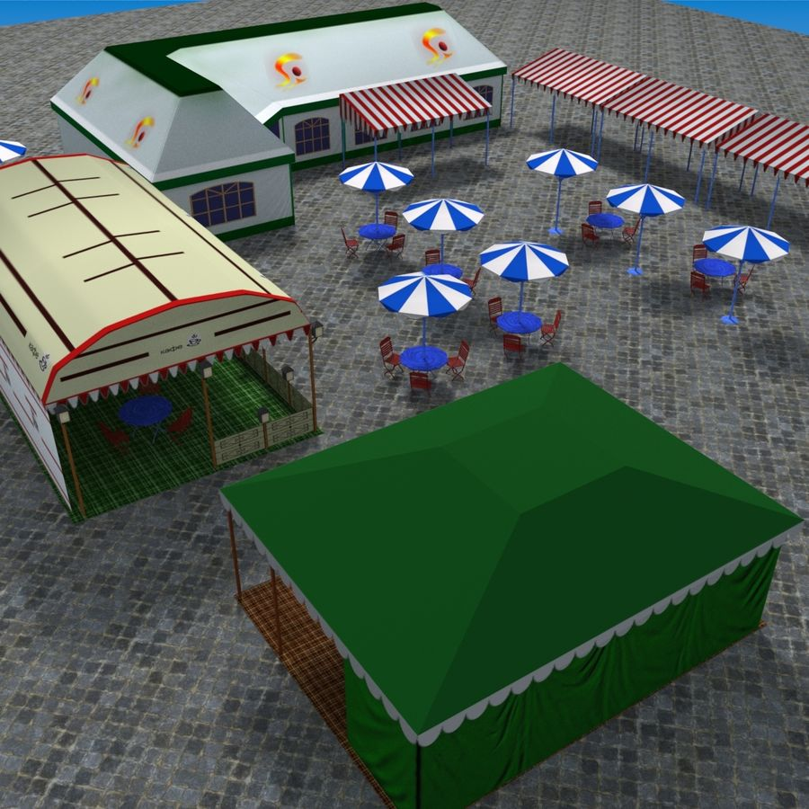 Tents cafe royalty-free 3d model - Preview no. 5