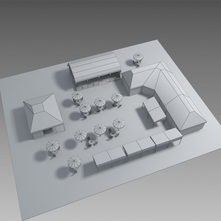 Tents cafe royalty-free 3d model - Preview no. 10