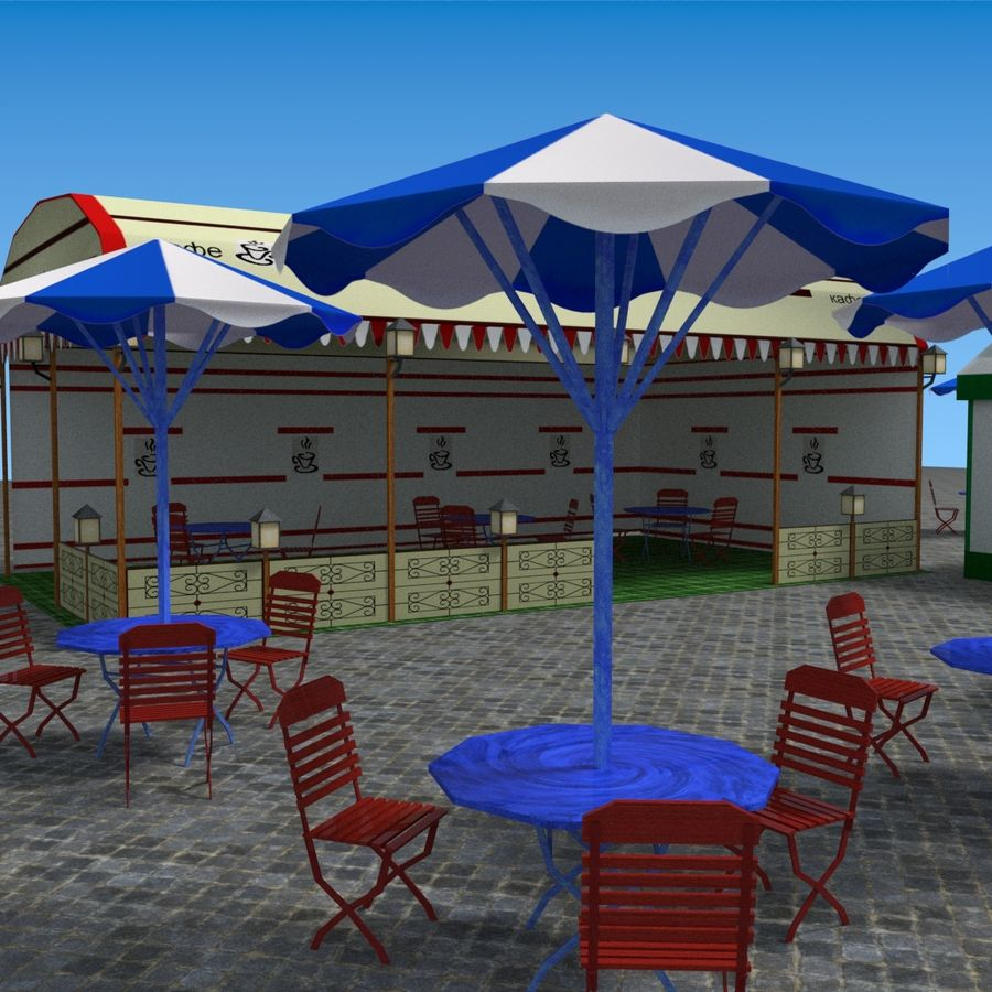 Палатки кафе royalty-free 3d model - Preview no. 11