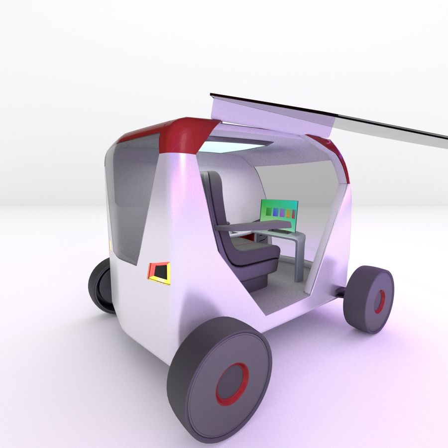 Concept styled single seater commuter royalty-free 3d model - Preview no. 3