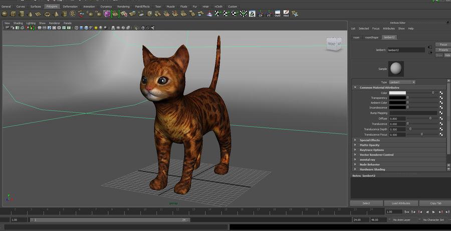 귀여운 고양이 모델 royalty-free 3d model - Preview no. 6