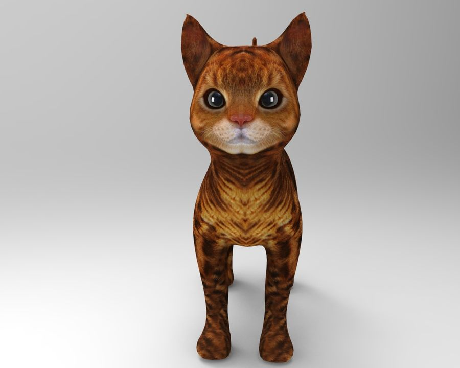 söt kattmodell royalty-free 3d model - Preview no. 3