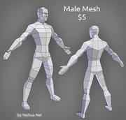 Low poly male model 3d model