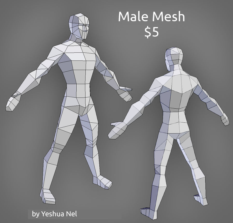 Low poly male model royalty-free 3d model - Preview no. 1