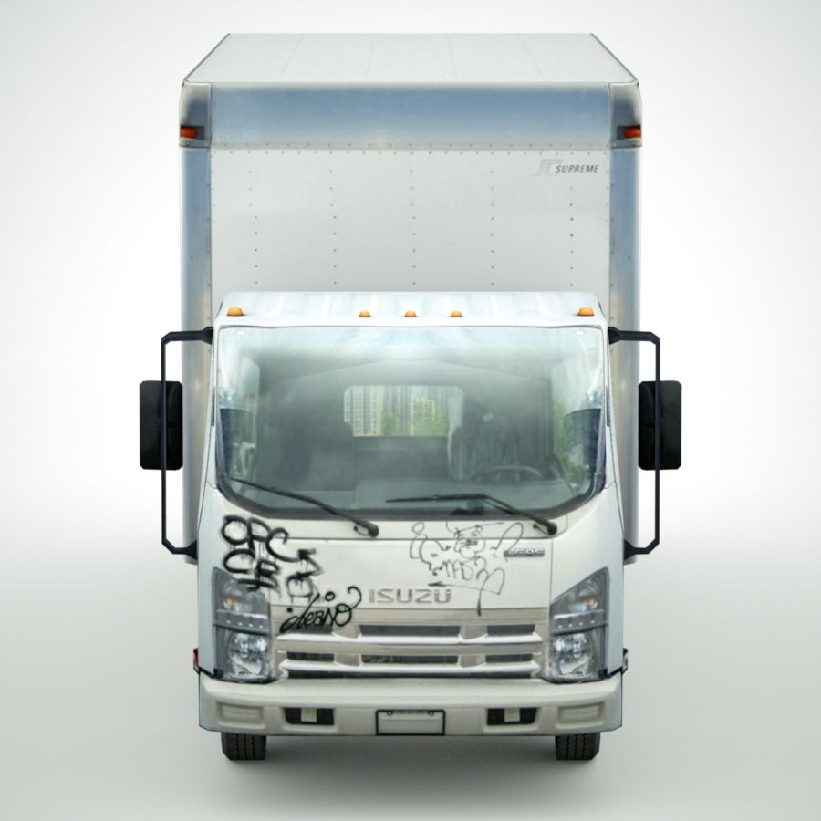 Isuzu NPR with Graffiti lowpoly 3d model royalty-free 3d model - Preview no. 6