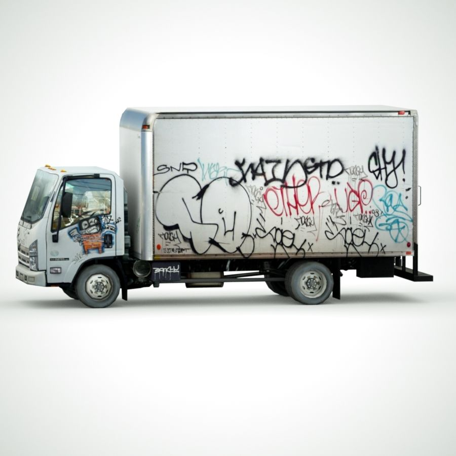 Isuzu NPR with Graffiti lowpoly 3d model royalty-free 3d model - Preview no. 3