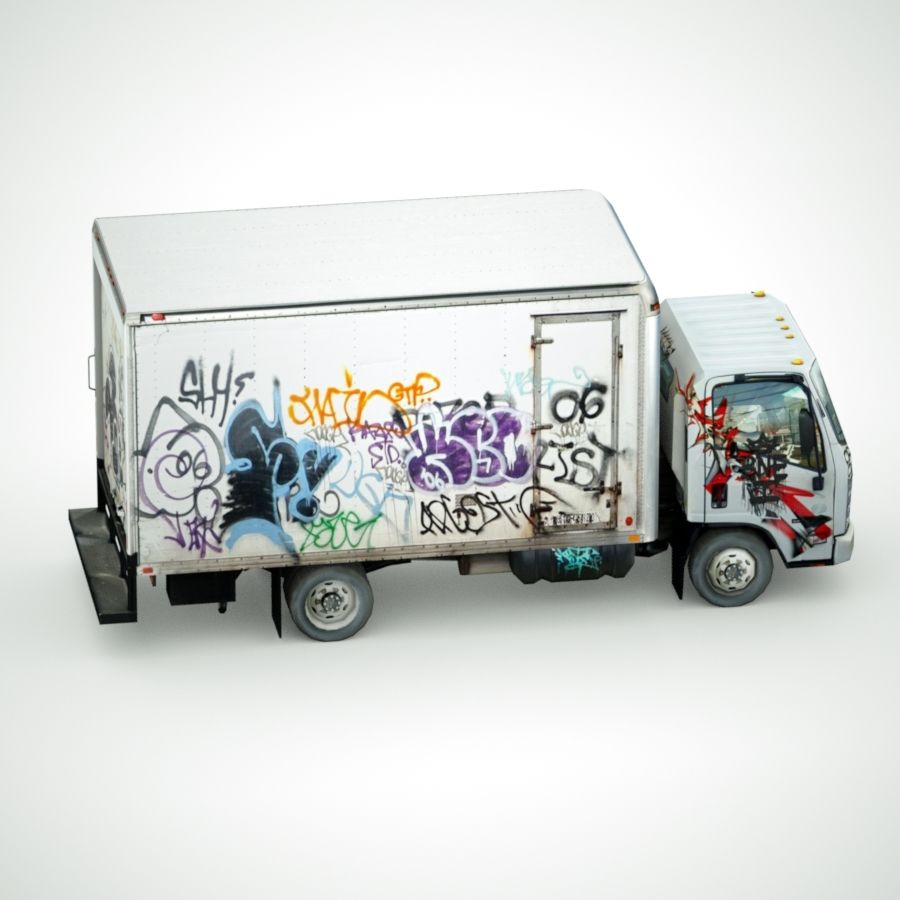 Isuzu NPR with Graffiti lowpoly 3d model royalty-free 3d model - Preview no. 4