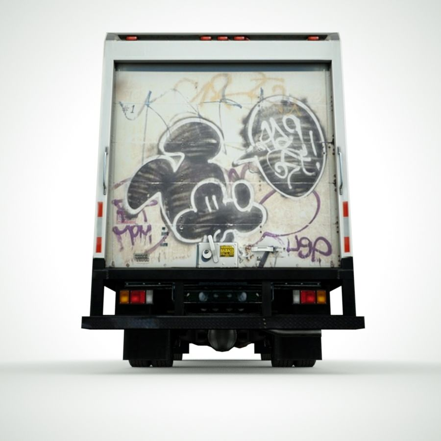 Isuzu NPR with Graffiti lowpoly 3d model royalty-free 3d model - Preview no. 5