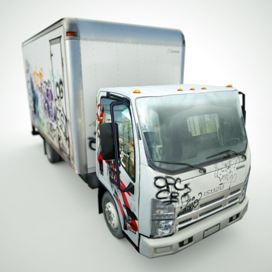 Isuzu NPR with Graffiti lowpoly 3d model royalty-free 3d model - Preview no. 7