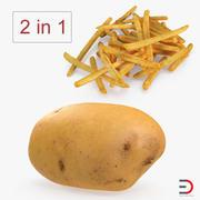 Frytki i surowa kolekcja ziemniaków 3d model