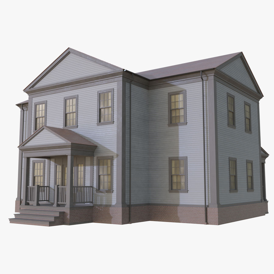 Colonial House 12 royalty-free 3d model - Preview no. 1