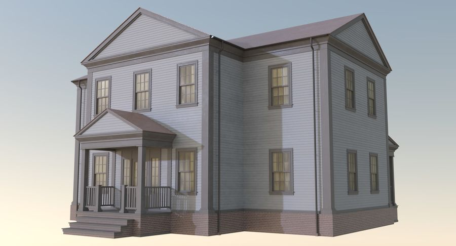 Colonial House 12 royalty-free 3d model - Preview no. 3