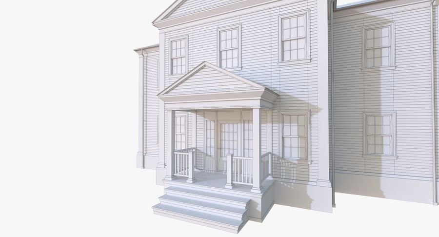 Colonial House 12 royalty-free 3d model - Preview no. 16