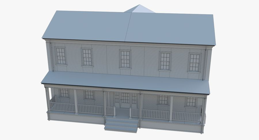 Colonial House 12 royalty-free 3d model - Preview no. 18