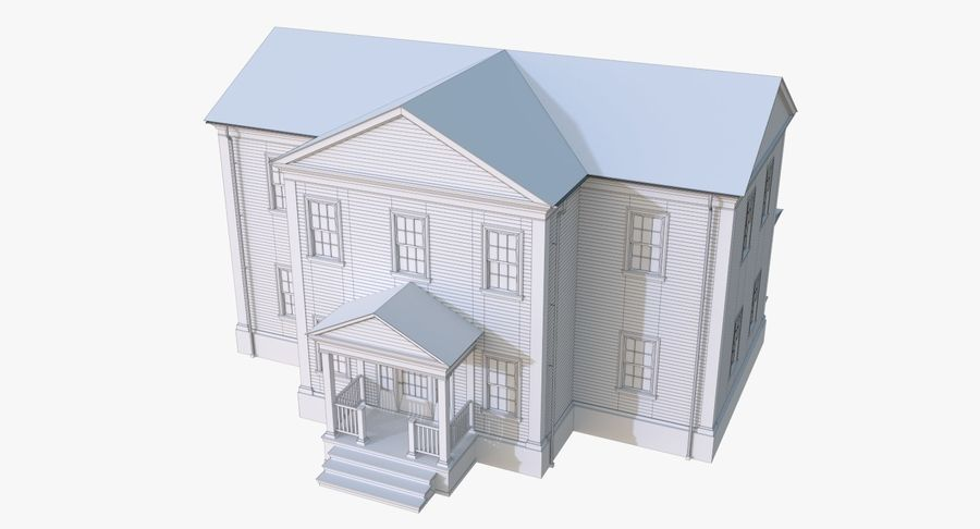 Colonial House 12 royalty-free 3d model - Preview no. 12