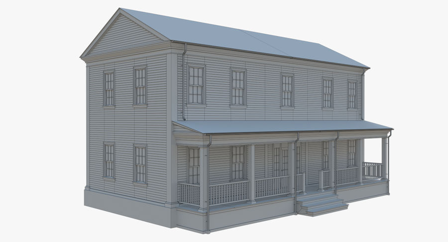 Colonial House 12 royalty-free 3d model - Preview no. 15