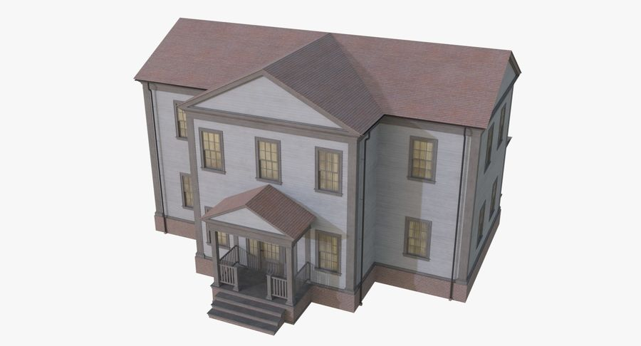 Colonial House 12 royalty-free 3d model - Preview no. 4
