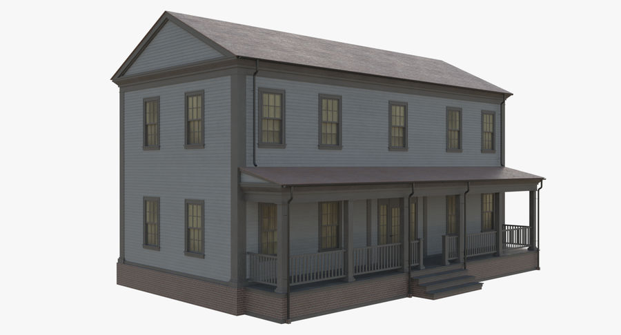 Colonial House 12 royalty-free 3d model - Preview no. 7