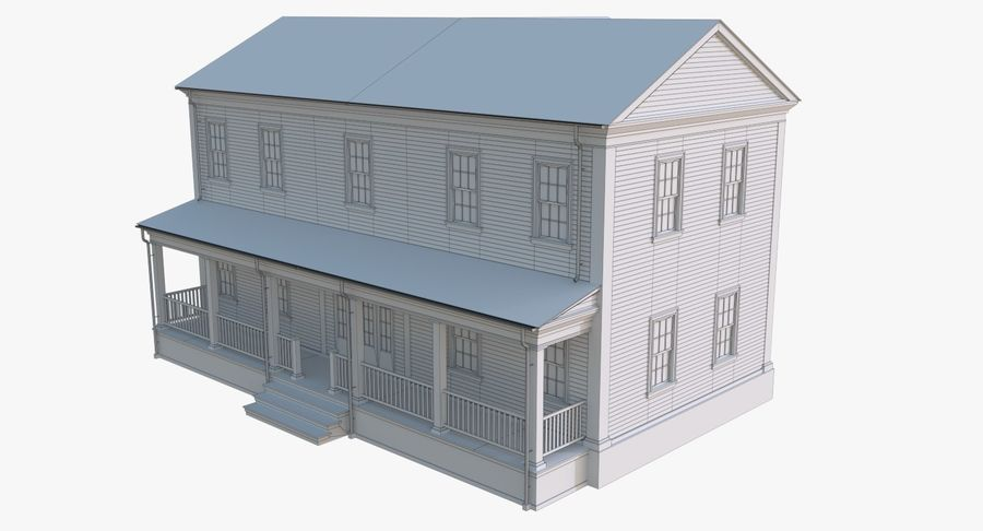 Colonial House 12 royalty-free 3d model - Preview no. 14