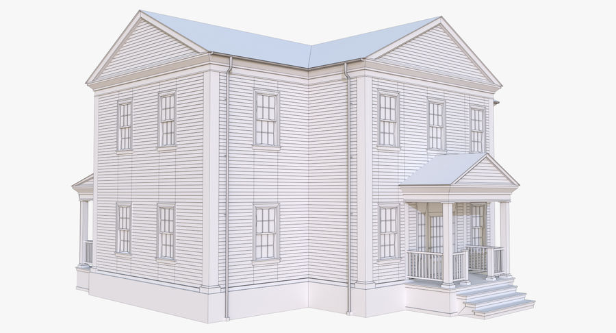 Colonial House 12 royalty-free 3d model - Preview no. 13