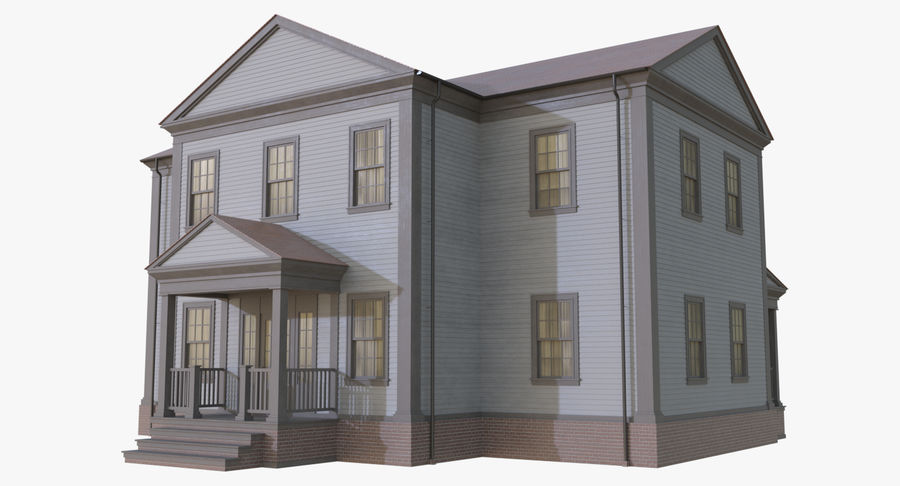 Colonial House 12 royalty-free 3d model - Preview no. 2